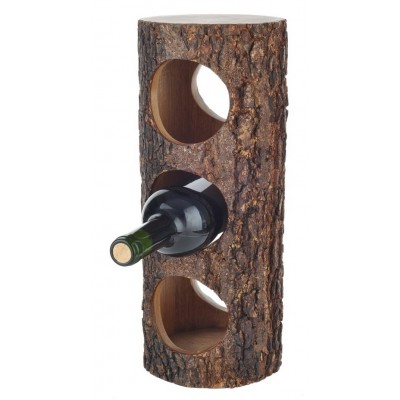 3 Bottle Acacia Wood Pillar Wine Rack