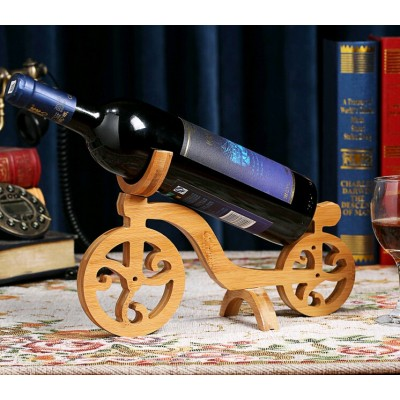 Bicycle Design Bamboo Wine Bottle Holder
