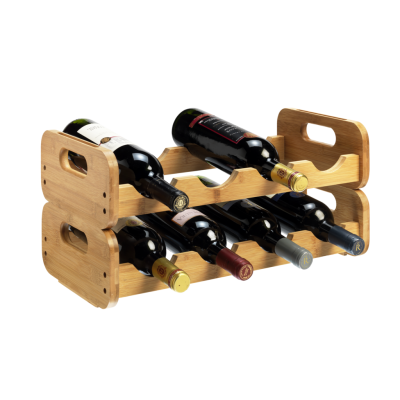 8 Bottle 2 Tier Bamboo Open Modular Wine Rack