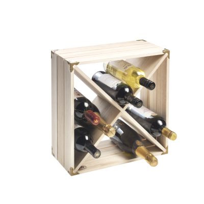 12 Bottle Natural Wood Retro Wine Rack Cube