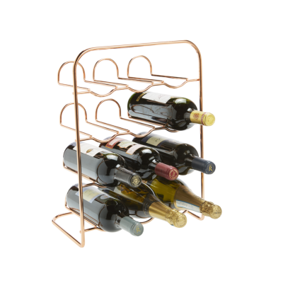 12 Bottle Neat Rose Gold Finish Wire Rack