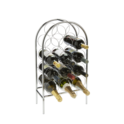 14 Bottle Circlet Floor Standing Chrome Finish Wire Rack