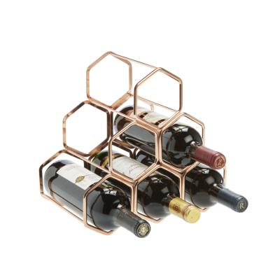 6 Bottle Rose Gold Finish Hexagon Wire Rack