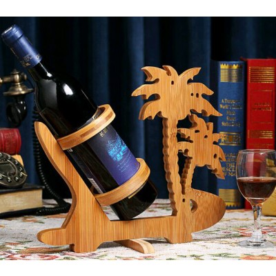 Palm Tree Design Bamboo Wine Bottle Holder