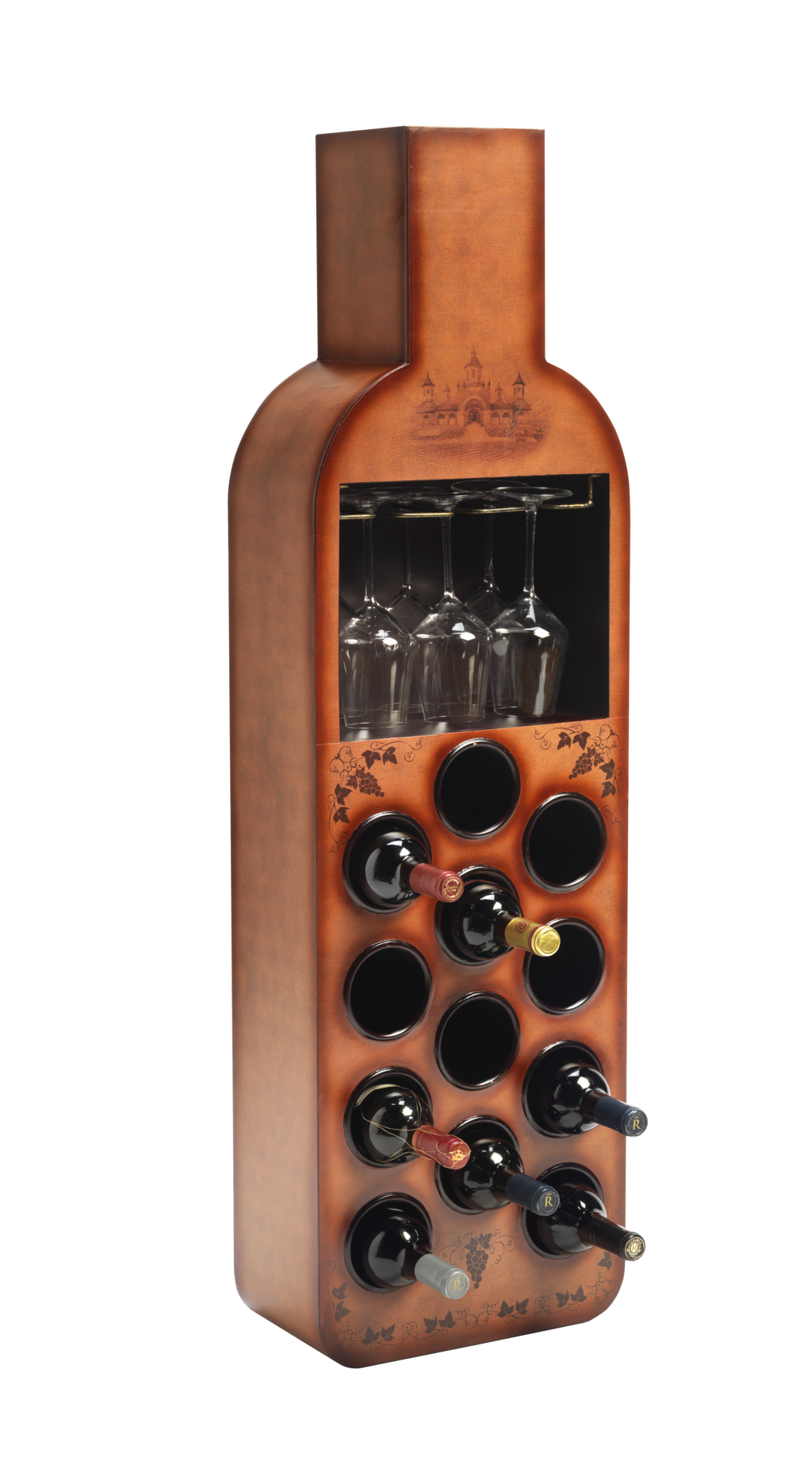12 Bottle Floor Standing Vintage Wine Rack With Bar Products
