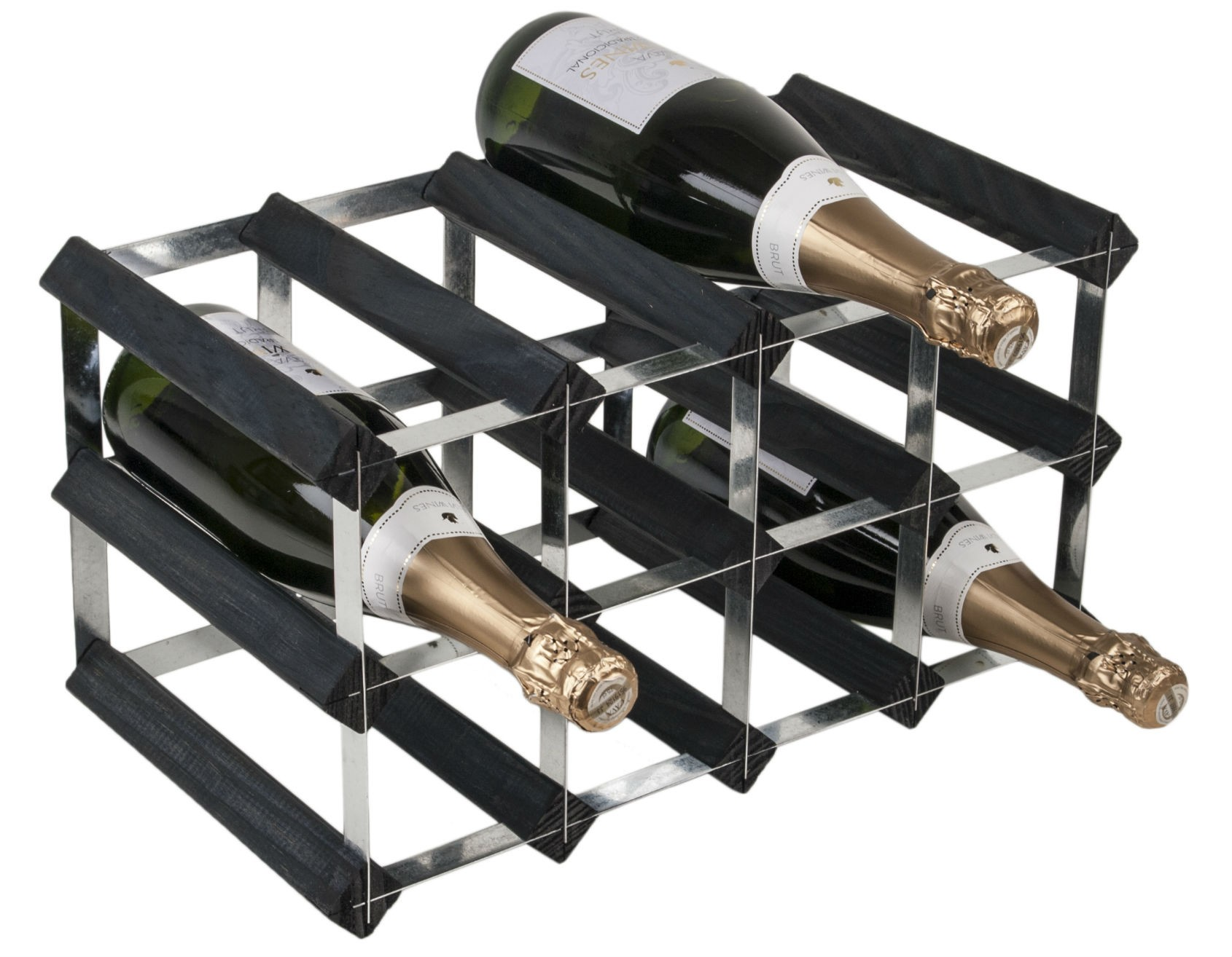 12 Bottle Traditional Wooden Wine Rack 4x2