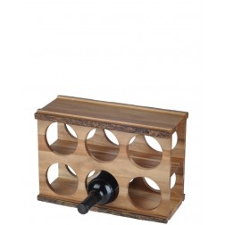 6 Bottle Acacia Wood Modular Wine Rack