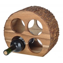 4 Bottle Acacia Wood Chariot Wine Rack