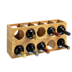 10 Bottle 2 Tier Bamboo Circular Modular Wine Rack