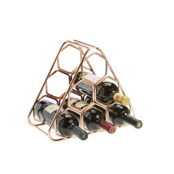 6 Bottle Rimmed Rose Gold Finish  Hexagon Wire Rack