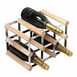 9 Bottle Traditional Wooden Wine Rack 3x2