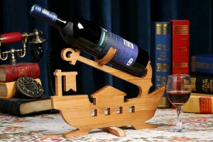 Boat Anchor Design Bamboo Bottle Holder