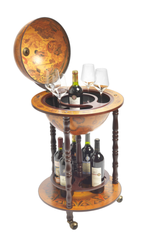 9 Bottle Floor Standing Globe Wine Bar