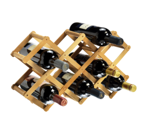 10 Bottle Collapsible Bamboo Durable Champagne And Wine Rack