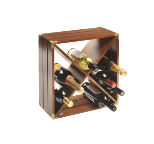 12 Bottle Dark Wood Retro Wine Rack Cube