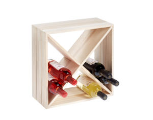 12 Bottle Natural Wood Wine Cube