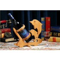 Swimming Dolphin Design Bamboo Bottle Holder