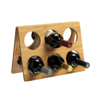 6 Bottle Foldable Bamboo Wine Rack