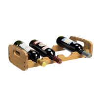 4 Bottle 1 Tier Bamboo Open Modular Wine Rack
