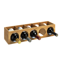 5 Bottle 1 Tier Bamboo Circular Modular Wine Rack