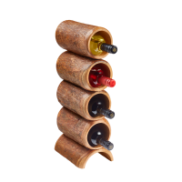 Barked Spire 4 Bottle Mango Wood Wine Rack