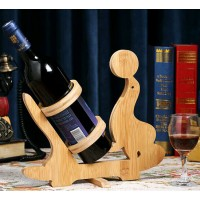 Seal Design Bamboo Wine Bottle Holder